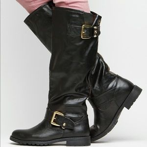 Buckle Threat Black Knee High Stitched Boots
